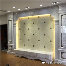 Translucent Faux Alabaster Tea Tray for Wall Panel Decor
