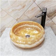 Bojnord Onyx Natural Stone Round Sink Basin
