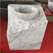 Carrara White Marble Natural Finish Basin Sink
