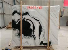 China Panda White Landscape Paintings Marble Slab