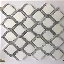 Grey White Marble Stone Wall Floor Mosaic Tile