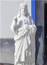 Pure White Marble Stone Jesus Sculpture Statue