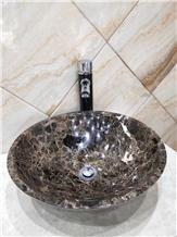 Spain Dark Emperador Round Marble Basin Wash Sink
