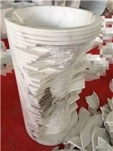 Volakas Venus White Marble Pedestal Round Sink