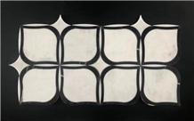 White Marble Flower Shape Wall Floor Mosaic Tile
