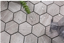 White Wooden Marble Stone Hexagon Mosaic for Wall