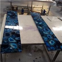Semiprecious Stone Blue Agate Pub Bar Top