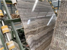 A Quality Titanium Silver Travertine Slab,Floor Tile Interior Stone