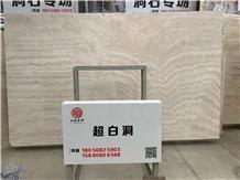 Persian Super White Travertine Slabs Vein Cut Showroom in Stocks