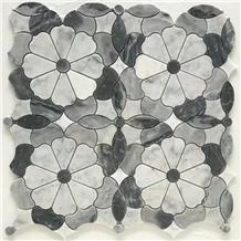 Flower Grey Waterjet Mosaic Art Pattern