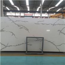 White Calacatta Quartz Bathroom Tiles