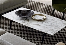 Fine Lines Snow White Marble Table Top Coffee Top