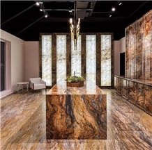 Temmer Golden Brown Marble Reception Cpuntertops