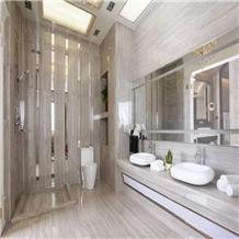 White Serpeggiante Wood Marble Bathroom Tiles