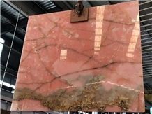 Luxury Pink Onyx Customized Slab,Crystal Pink Alabaster