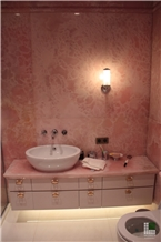 Pink Sapphire Onyx Tile Bathroom Wall Cladding Bookmatched