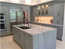 White Macaubas Quartzite Kitchen Islands Countertop Polished