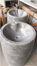 Pedestal Sink Grey Marble Basin