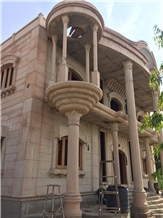 Pink Jodhpur Sandstone Column and Pillars