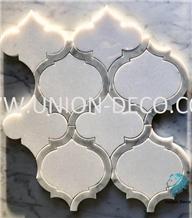 Arabesque White Thassos & Carrara Marble Mosaic