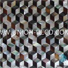 Black Silver Diamond Pearl Shell Mosaic
