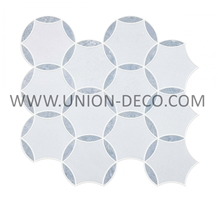 Blue Mix White Palacia Ice Round Marble Mosaic