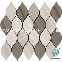 Candle Light Wooden Grey Marble Waterjet Mosaic