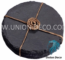China Natural Round Slate Coaster