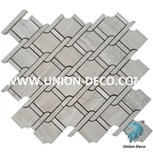 China White Wooden Marble Mosaic