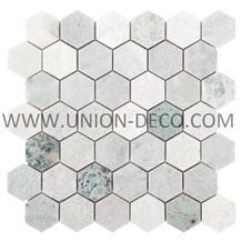 Green Hexagon Tumbled Marble Mosaic China