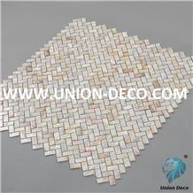 Light Colorful Pearl Shell Herringbone Mosaic Tile
