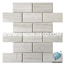 Marble Polished Brick White Wooden Mosaic