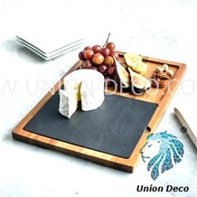 Natural Slate Cheese Tray with Wooden Handles