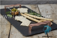 Natural Slate Tray with Copper Handles