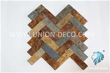 Rusty Slate Fishbone Mosaic Wall Panel Culture