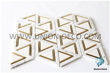 Triangle Phnom Penh Mosaic Marble Tile Water-Jet