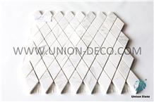 White Diamond Mosaic Marble Tile Water-Jet Mosaic