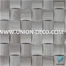 White Wooden Polished Marble Mosaic Tile