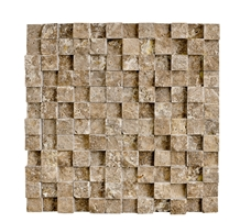 Noce Travertine 3d Split Face Mosaic Tile