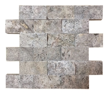 Silver Travertine Split Face Mosaic, Mosaic Tile