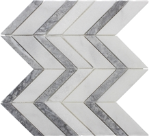 White Gray Marble Polished/Honed Chevron Mosaic