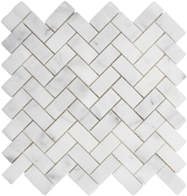 White Marble Polished Herringbone Mosaic