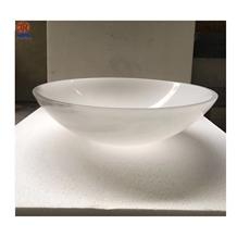 Han White Jade Marble Round Bathroom Wash Basin
