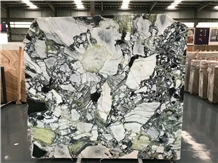China White Beauty Ice Jade Green Marble Slabs