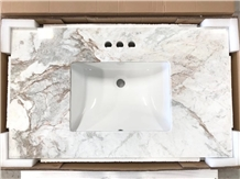 Glorious White Marble Bathroom Countertops