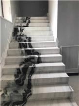 Panda White Marble Floor Veins Stair Steps Case