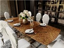 Yellow Tiger Eye Kitchen Dining Tabletop Furniture