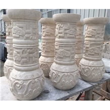 Beige Granite Column Bases Sculptured