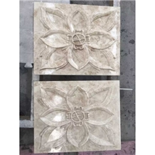 Beige Natural Stone Reliefs Flower Engravings Wall