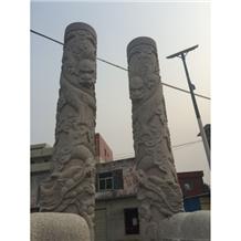Grey Granite Column Architectural Sculptured
